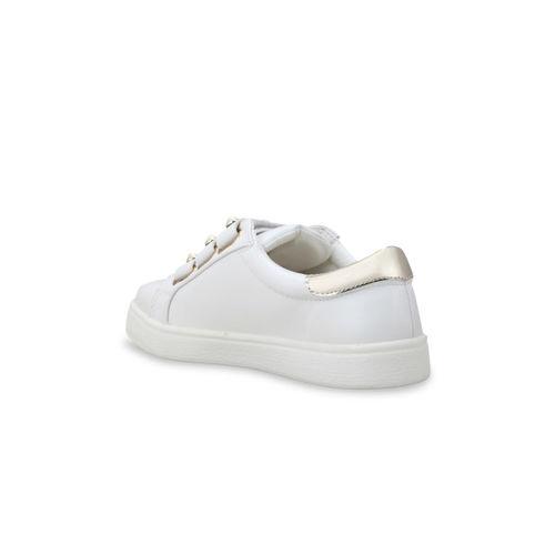 Flat n Heels Women White Embellished Sneakers