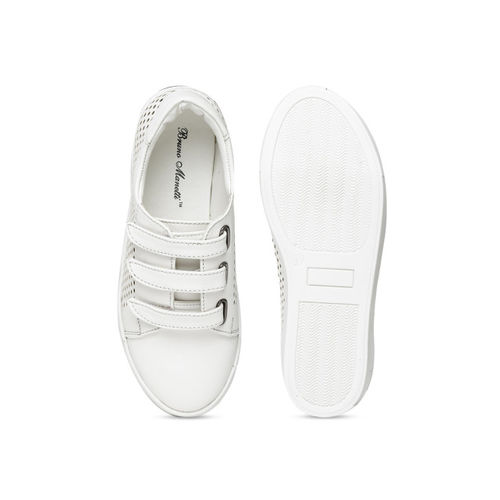 Bruno Manetti Women White Slip-On Sneakers