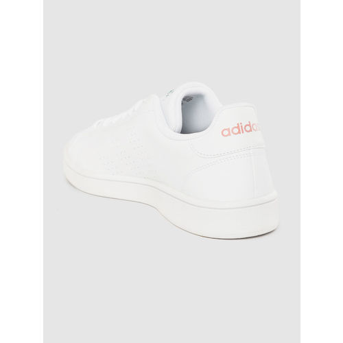ADIDAS Women White Advantage Base Perforated Sneakers