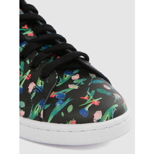 ADIDAS Originals Women Black & Green Stan Smith Leather Floral Print Sneakers