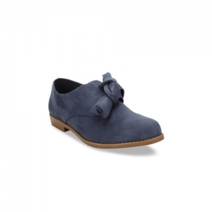 Flat n Heels Women Blue Suede Slip-On Shoes