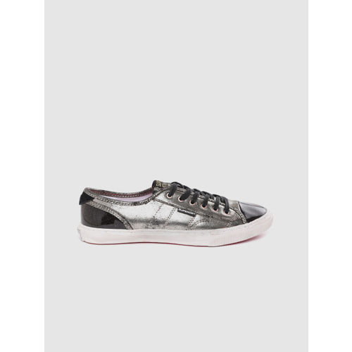 Superdry Women Gunmetal-Toned & Black Colourblocked Sneakers