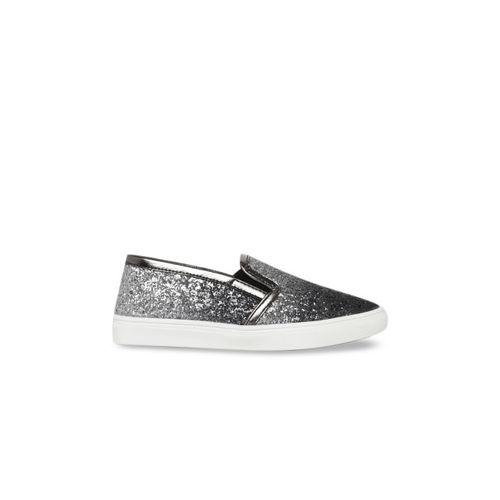 Bruno Manetti Women Gunmetal-Toned Slip-On Sneakers
