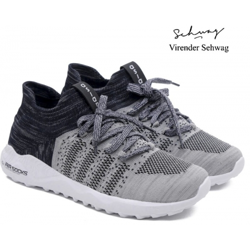Asian Airsocks-12 Black & Grey Synthetic Lace-up Shoes