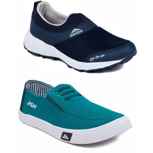Asian Multicolor Sports Shoes,Walking Shoes,Gym Shoes,Casual Shoes,Canvas Shoes,Shoes Combo, Walking Shoes For Men(Blue, Green)