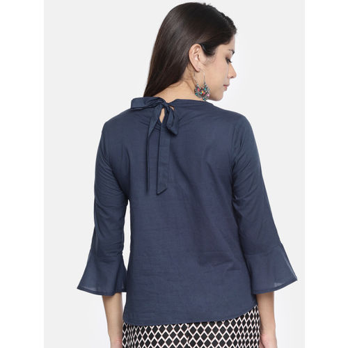 all about you from Deepika Padukone Women Navy Blue Solid Regular Top