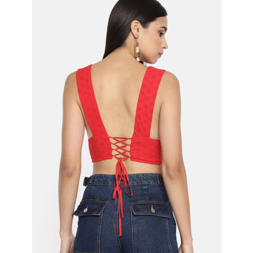 FOREVER 21 Women Red Self Design Bralette Top