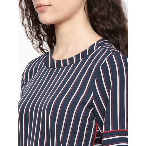 Tommy Hilfiger Women Navy Blue & White Hoku Striped Top