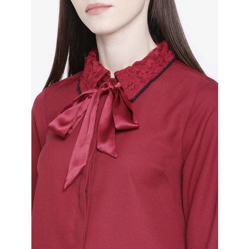 all about you from Deepika Padukone Women Maroon Solid Shirt Style Top