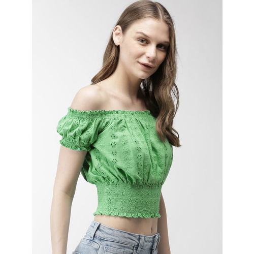 FOREVER 21 Women Green Self Design Bardot Top