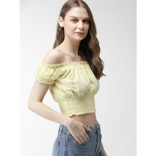FOREVER 21 Women Yellow Self Design Bardot Top