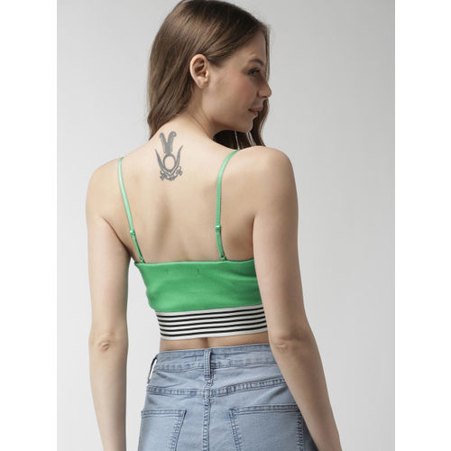FOREVER 21 Women Green Solid Cropped Bardot Top
