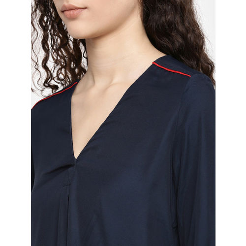 Tommy Hilfiger Women Navy Blue Hermosa Solid A-Line Top