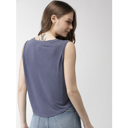 FOREVER 21 Women Blue Solid Top
