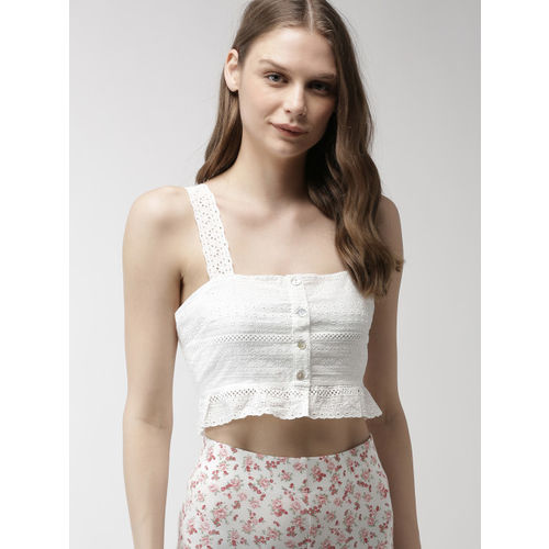 FOREVER 21 Women White Self Design Peplum Top