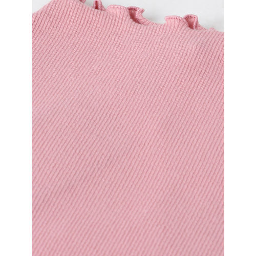 FOREVER 21 Women Pink Solid Fitted Top