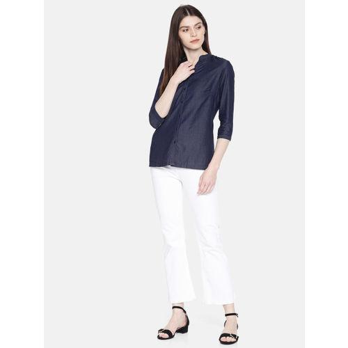 Park Avenue Women Navy Blue Solid Shirt Style Top