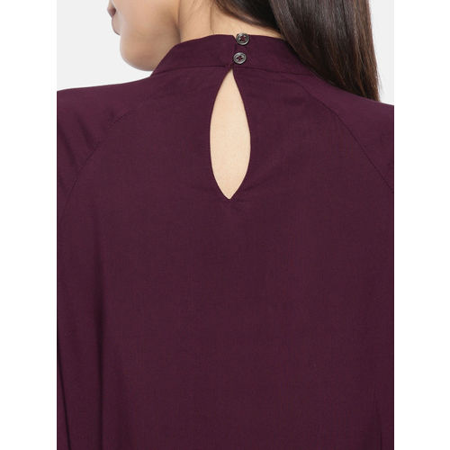 Roadster Women Burgundy Solid Cinched Waist Top