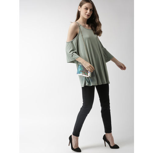 FOREVER 21 Women Olive Green Solid Boxy Longline Top
