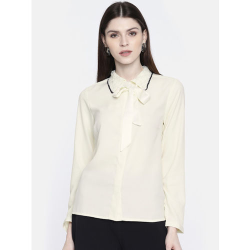 all about you from Deepika Padukone Women Cream-Coloured Solid Shirt Style Top