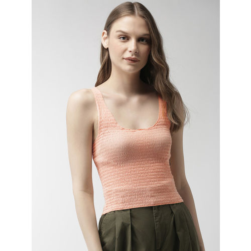 FOREVER 21 Women Pink Solid Smocked Fitted Top
