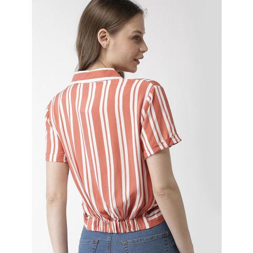 FOREVER 21 Women Coral Orange & White Striped Blouson Top