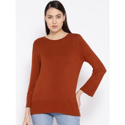 her by invictus Women Rust Brown Solid Regular Top