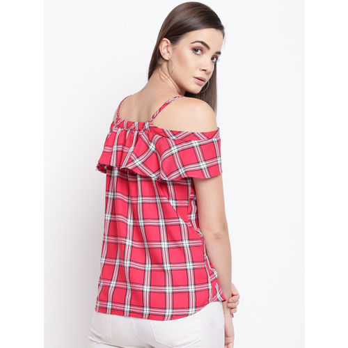 Kraus Jeans Women Red & Off-White Checked Bardot Top