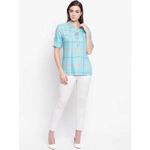 Kraus Jeans Women Green Checked Shirt Style Top