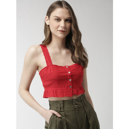 FOREVER 21 Women Red Solid Cropped Bralette Top