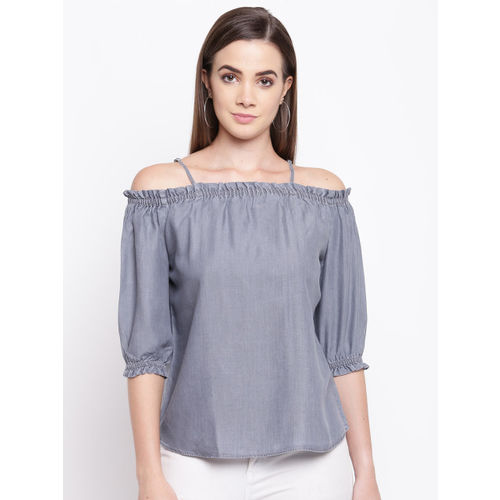 Kraus Jeans Women Grey Solid Bardot Top