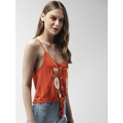 FOREVER 21 Women Rust Orange Solid Top