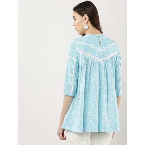 Sangria Women Blue & White Printed A-Line Top