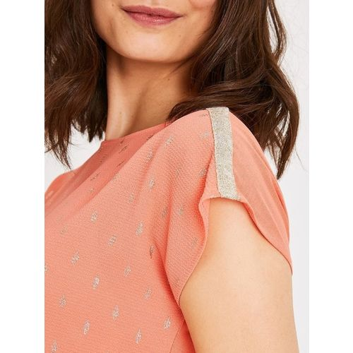 promod Women Coral Printed Top