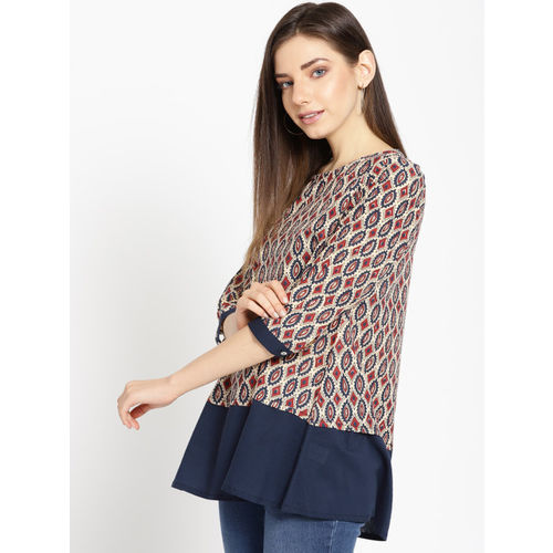 Sangria Women Beige & Navy Blue Printed A-Line Top