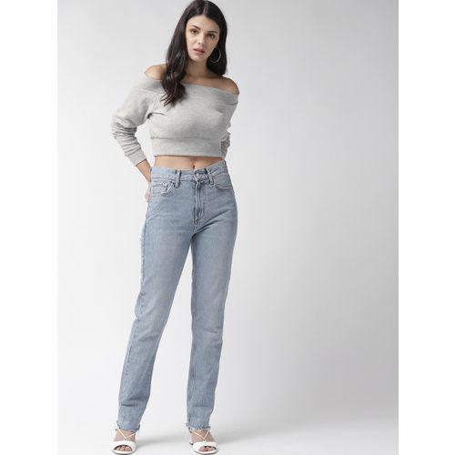 FOREVER 21 Women Grey Melange Solid Crop Bardot Top
