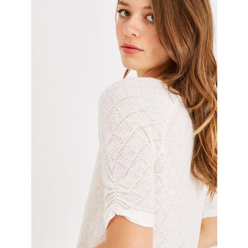 promod Women Off-White Self Design Top