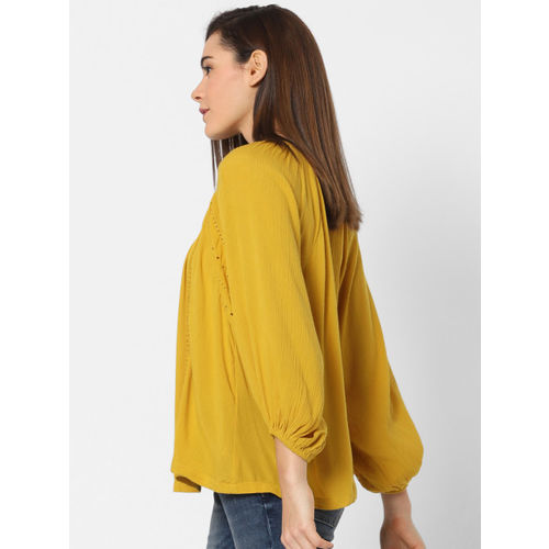 ONLY Women Mustard Yellow Solid A-Line Top