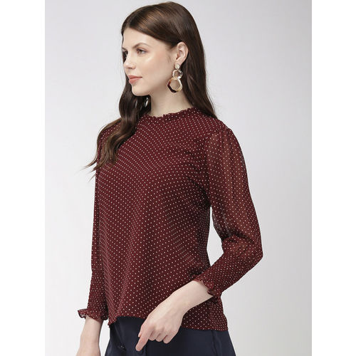 20Dresses Women Burgundy & White Printed Top
