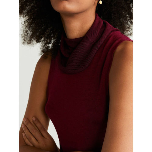 MANGO Women Maroon Solid Fitted Top