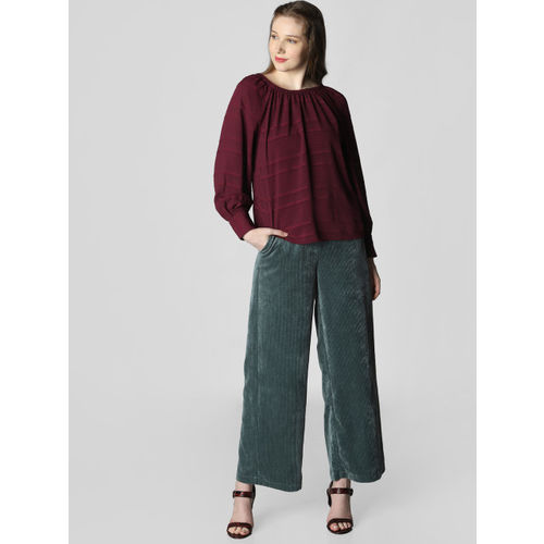 Vero Moda Women Burgundy Striped Top