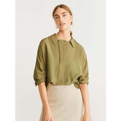 MANGO Women Olive Green Solid Shirt Style Top