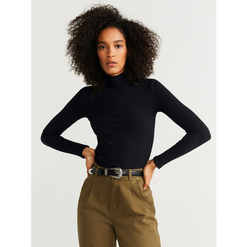 MANGO Women Black Solid Winter Fitted Top