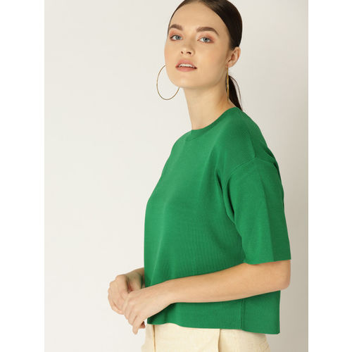 MANGO Women Green Solid Winter Boxy Top