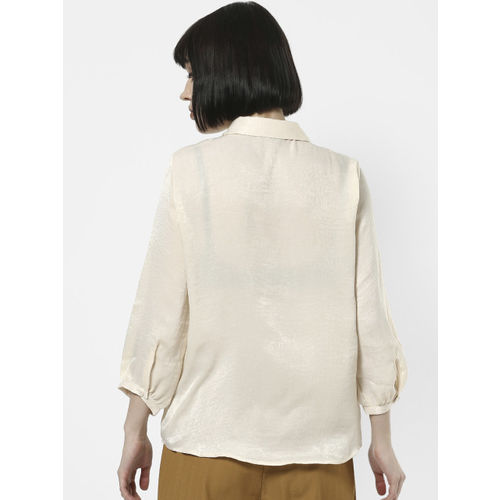 ONLY Women Cream-Coloured Solid Shirt Style Top
