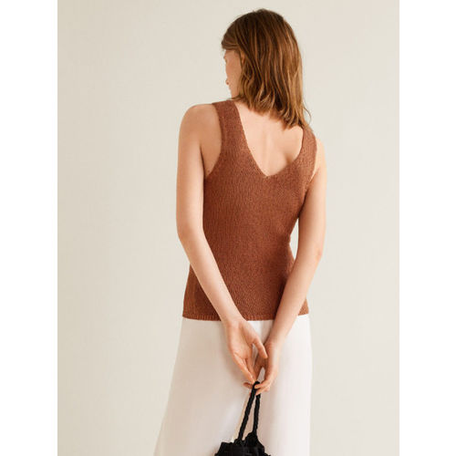 MANGO Women Brown Solid Top