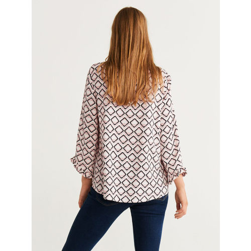 MANGO Women White & Black Printed Top