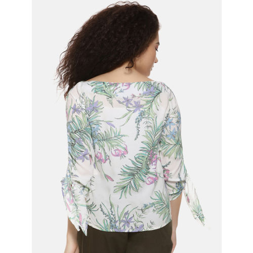 Campus Sutra Women White Printed Top