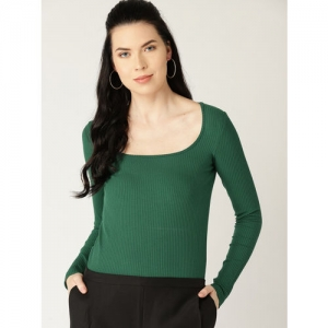 MANGO Women Green Ribbed Fitted Top