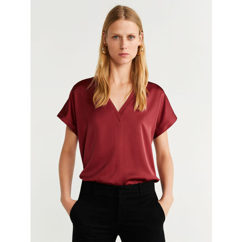 MANGO Women Rust Red Solid Regular Top With Satin Finish